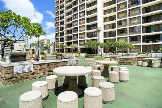 Recreation level includes grills and seating for BBQs