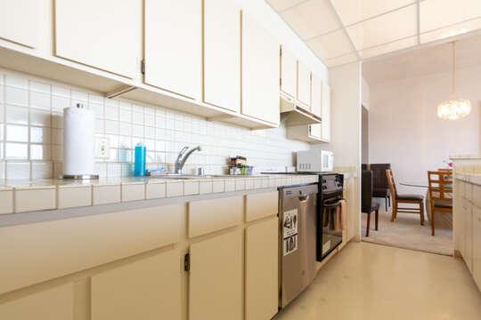 Kitchen with full sized dishwasher