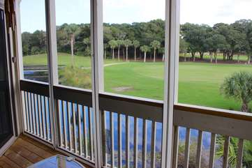 Watch the golfers tee shots hit the fairway from the small screened in porch off the dining and living area!.