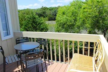 The entry deck offers a wonderful view as you relax with your morning coffee.