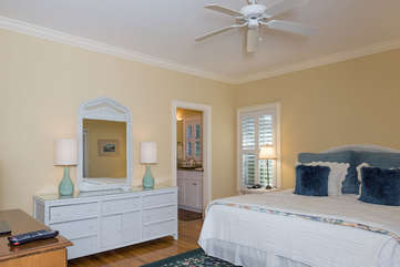 The first floor master bedroom has a king bed, & en-suite bath.