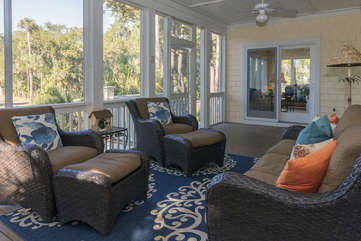 The screen porch has access from the great room or the sun porch.