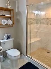 Newly renovated bathroom with large, tiled shower!
