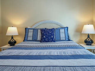 The 2nd bedroom has a queen bed. This bedroom is a great haven for your guests.