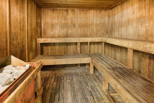 Two saunas are located just off the pool area.