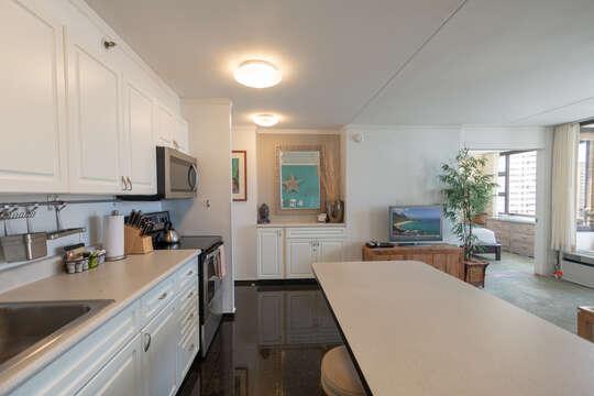 Kitchen has plenty of room for preparing meals