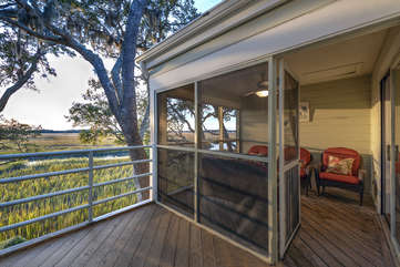 Half screened half open porch for fabulous sunset viewing.