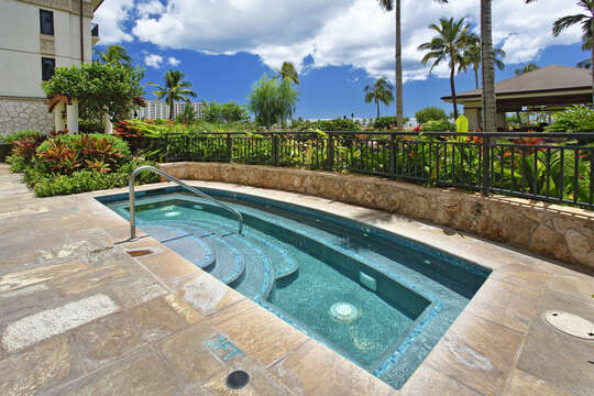 One of the three relaxing hot tubs on property
