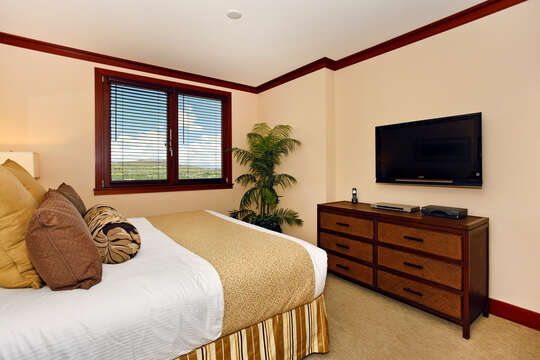 Master Bedroom With King Bed and Mountain Views