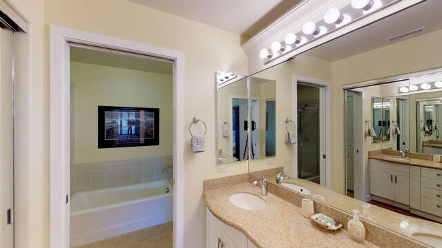 Master Bathroom with Dual Sinks and Walk-in Closet