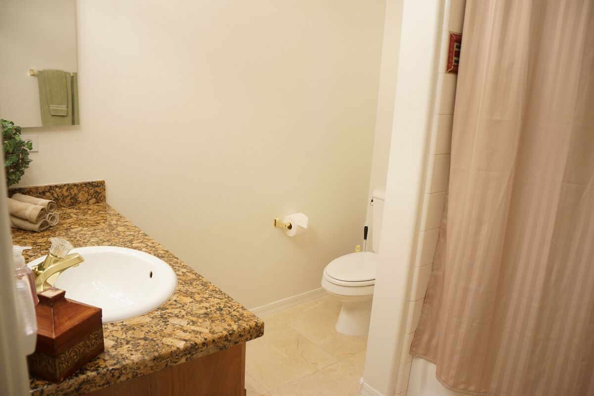 Guest bathroom with granite counter
