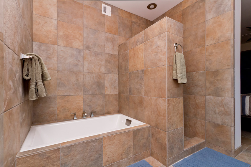 This large soaking tub and walk-in shower provide the best of both worlds