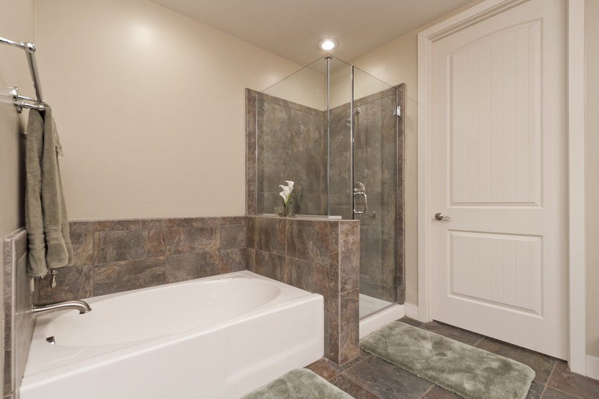 Separate shower and tub