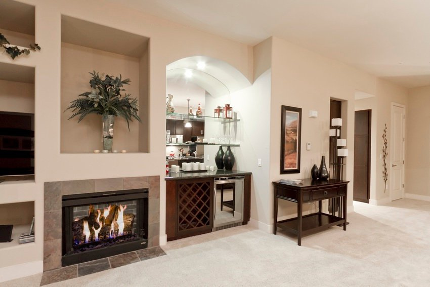 Fireplace and bar area