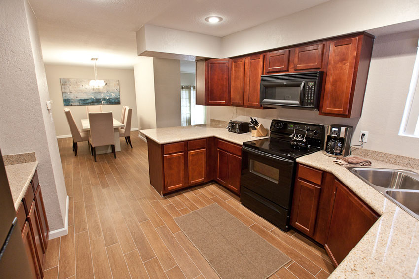 Kitchen looking at dining room