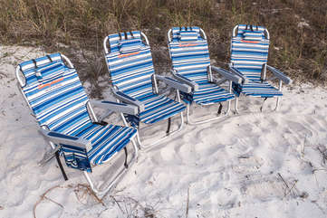 Four brand new Tommy Bahama Back Pack Beach Chairs