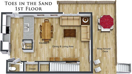 1st Floor Layout (Refer to the photos for actual colors of Furniture & Floors)