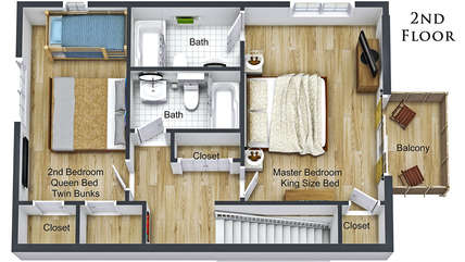 2nd Floor Layout (Refer to the photos for actual colors of Furniture & Floors)