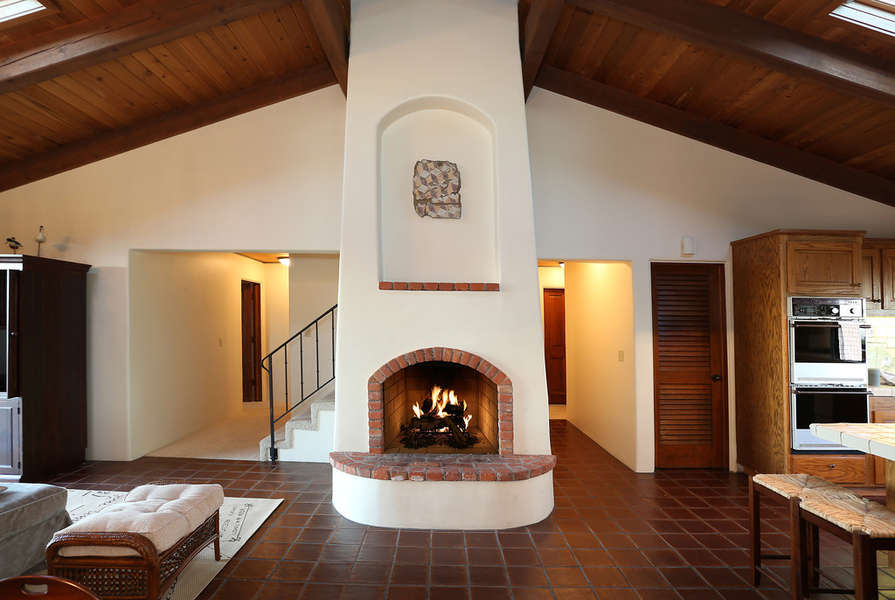 Fireplace between Family Room and Kitchen