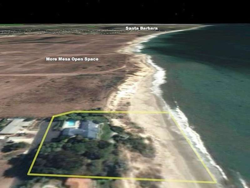 Aerial view of conservation land and private beach