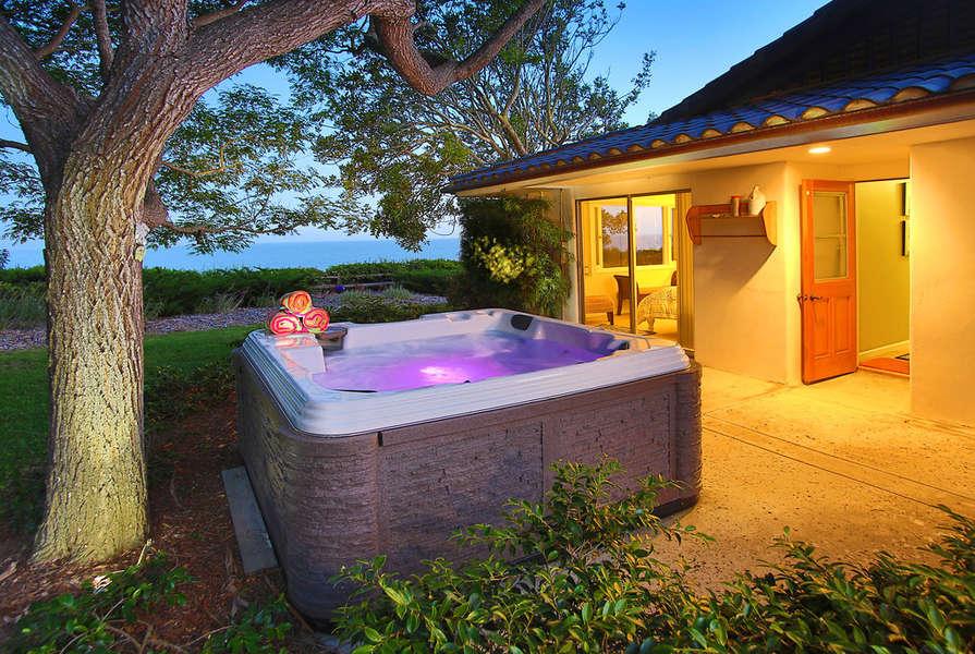 Colorful lights illuminate the spa