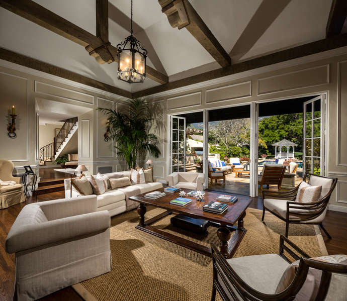 Living Room w/French doors to pool terrace