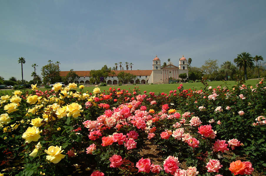 Historic Santa Barbara Mission and Rose Gardens