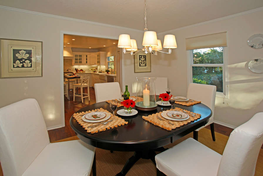 Comfortable dining adjacent to the kitchen