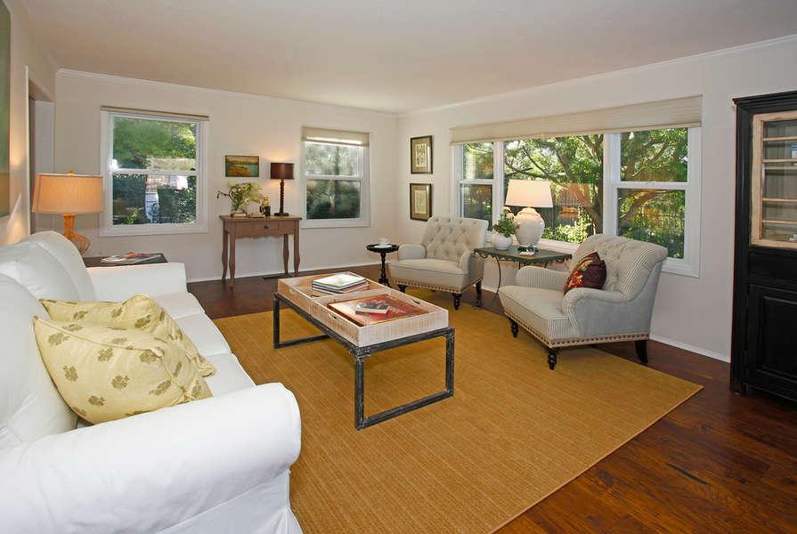 Living Room with backyard views