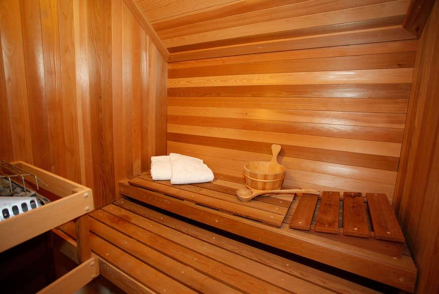 Generous size sauna in Master Bathroom