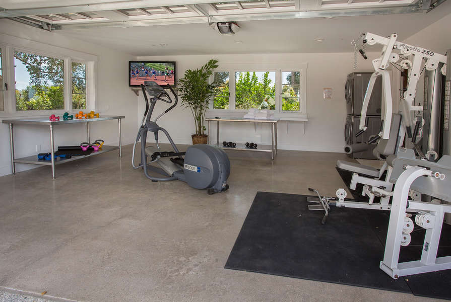 Casita Garage has been converted to an exercise room!