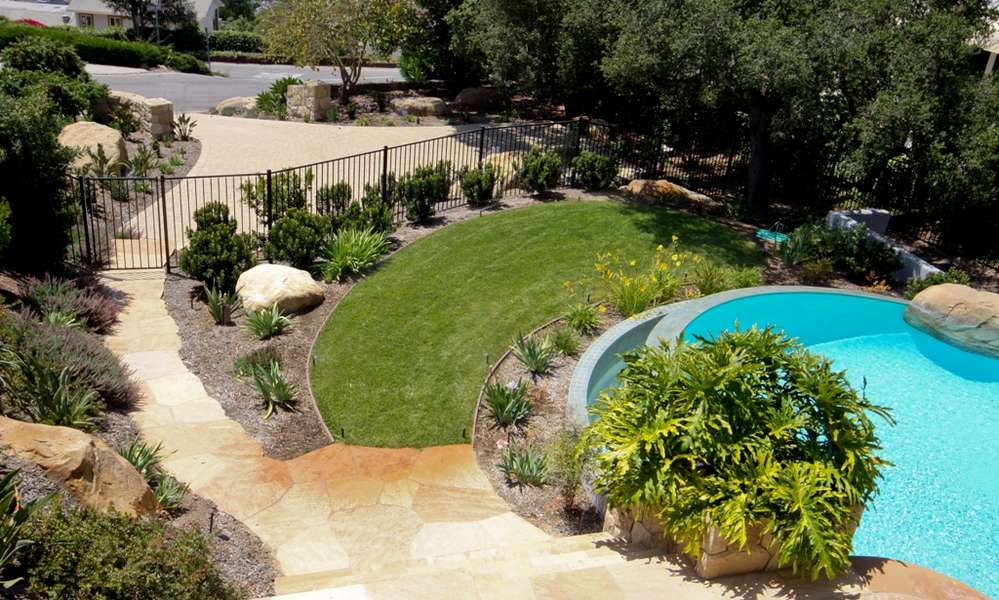 Overview of pool, lawn, and lower parking area