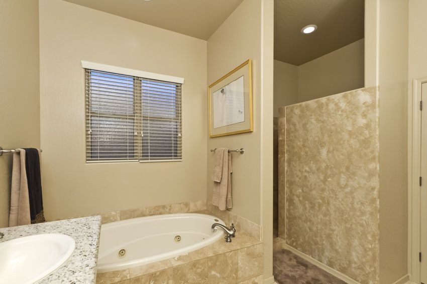 Soak in this oversized tub or step into the walk-in shower