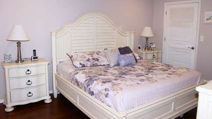 The master bedroom has new king bed and linens and is freshly painted.