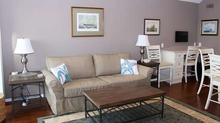 Comfortable furnishings invite you to settle in and relax.