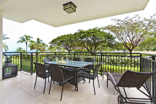 Sneak a peak of the ocean from your fully furnished lanai