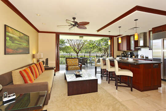 Living Area and Kitchen with View