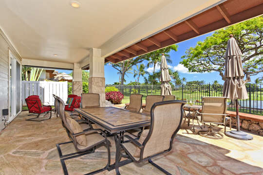 Large Lanai Looking out at the 18th Fairway