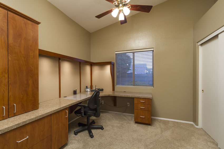 Office space with built in desk