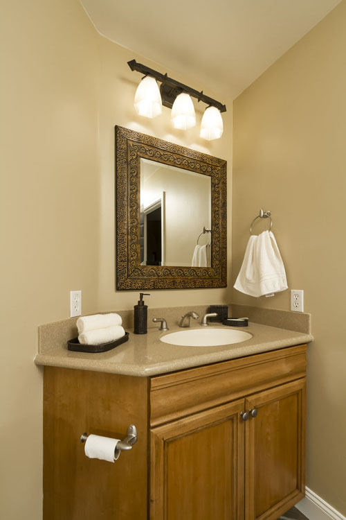 Sink in the guest bathroom with granite counters.