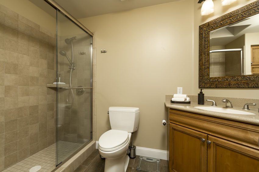 The guest bathroom has a tile and glass shower with two shower heads.