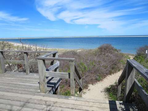 Monomoy Wildlife Refuge is just a mile away. Access the beach via stairway-Chatham Cape Cod New England Vacation Rentals