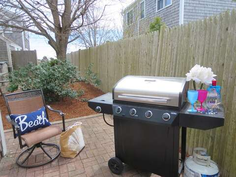 Gas grill on patio- ittle peaks of the water from the patio - 11 Oyster Drive Chatham Cape Cod New England Vacation Rentals