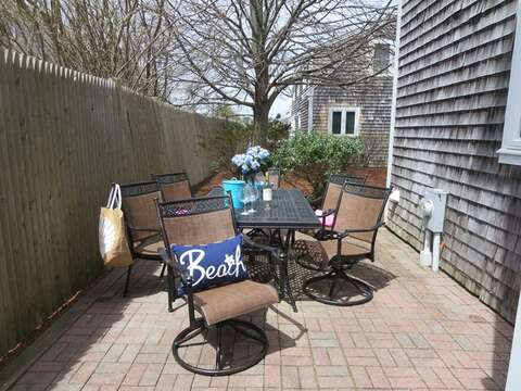 Outdoor patio off kitchen and dining area - 11 Oyster Drive Chatham Cape Cod New England Vacation Rentals