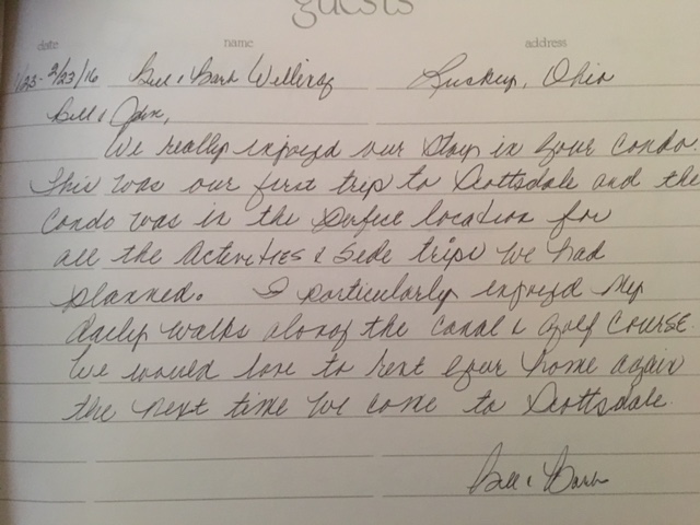 Guest Review left in the home's guestbook from previous renters