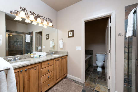 Master bath with double sink vanity / jetted tub
