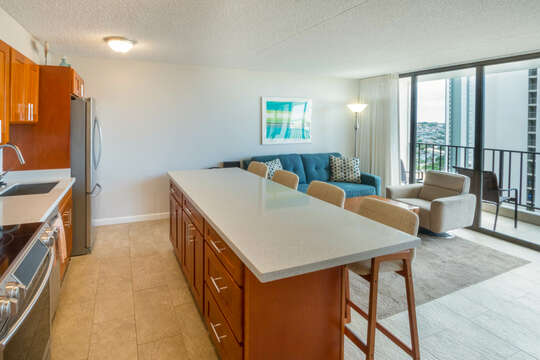 Great room, kitchen and lanai