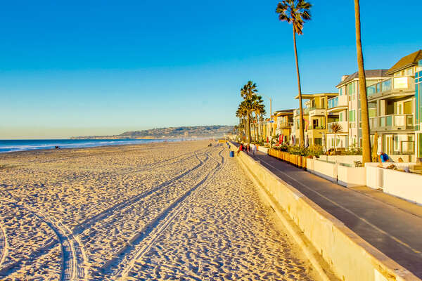 Mission Beach is only steps away