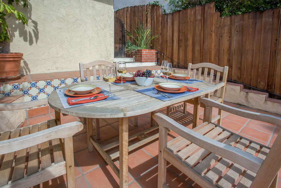 Spanish tile accents the patio