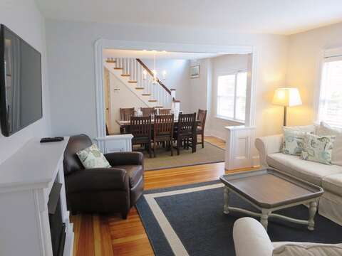 2nd living room with flat screen TV view to Dining-388 Main St-Chatham Cape Cod New England Vacation Rentals